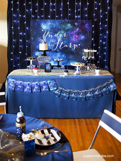 stars galaxy printable party paper  cake