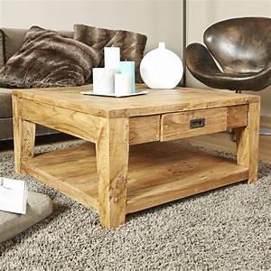 Table Basse Carrée En Bois : table basse en bois de teck recycl 80 cargo bois dessus ~ Teatrodelosmanantiales.com Idées de Décoration