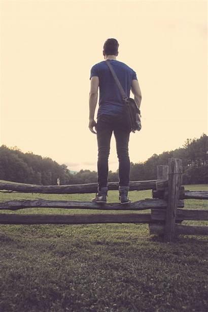 Walking Person Fence Tree Standing Jogging Boy