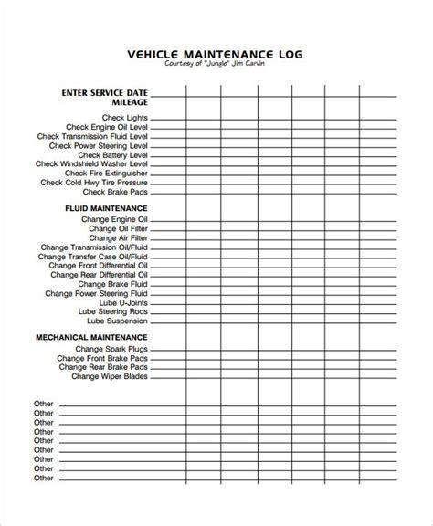 result for excel vehicle maintenance log vehicle