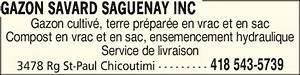 Terre Végétale En Sac : gazon savard saguenay inc horaire d 39 ouverture 3478 ~ Dailycaller-alerts.com Idées de Décoration