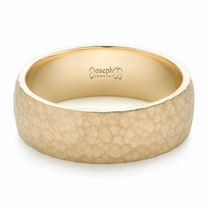 men39s yellow gold hammered matte finish wedding band 102504 With mens matte gold wedding ring