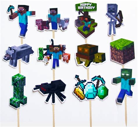 ideas  minecraft cupcake toppers