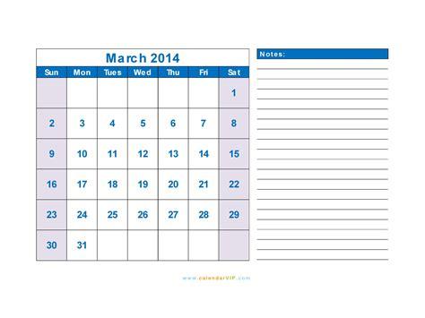 March 2104 Calendar Template