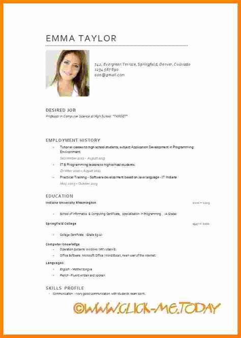 Cv Englisch Vorlage by 6 Cv In Template Theorynpractice