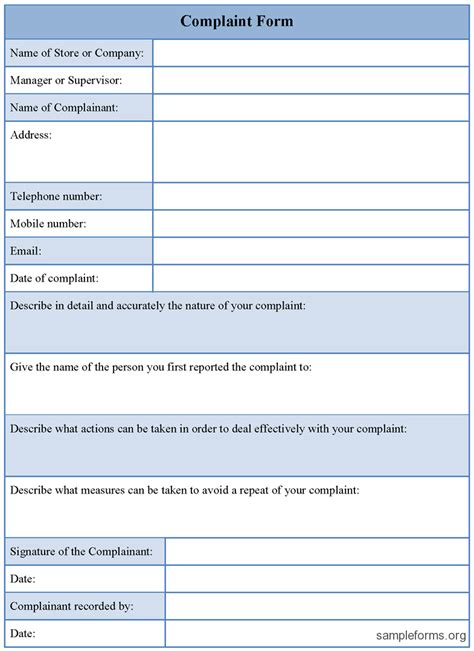 form template complaint form template sle forms