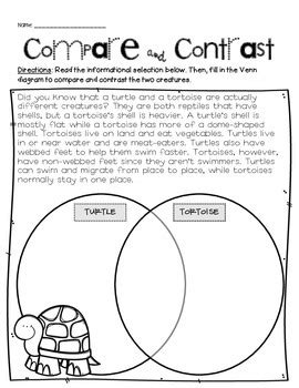 compare contrast worksheets compare and contrast handouts by teaching resources tpt