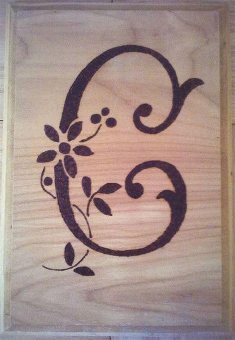 monogrammed wood burned plaque   letter   item