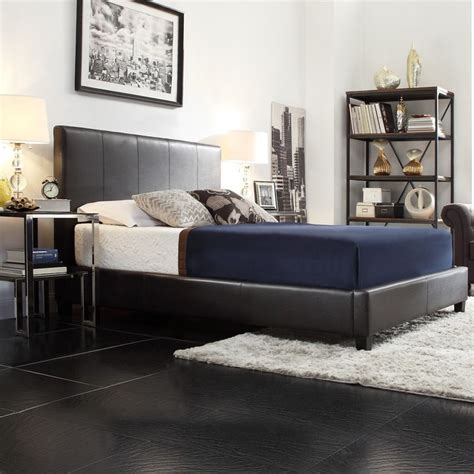 king size brown faux leather upholstered platform bed tribecca home castillian brown faux leather king size 91165