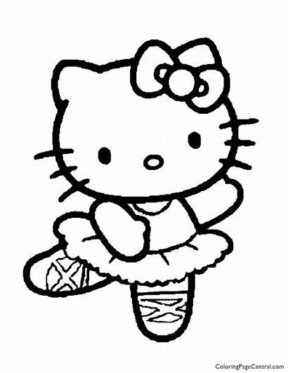 Kitty Hello Coloring Sanrio Coloringpagecentral