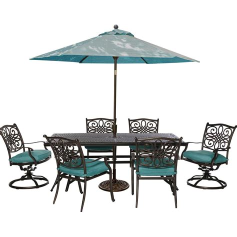 blue outdoor table and chairs cambridge seasons 7 piece patio outdoor dining set with