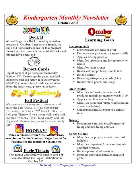 kindergarten newsletter template   templates