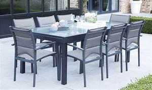 Table De Jardin Aluminium 12 Personnes : grand salon de jardin gris anthracite 12 fauteuils et ~ Edinachiropracticcenter.com Idées de Décoration