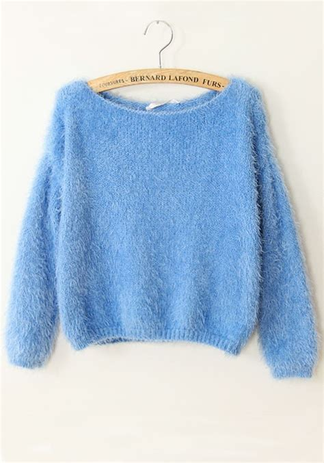 blue sweater blue plain collarless sleeve acrylic sweater