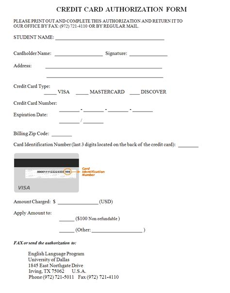 credit card on file authorization form template credit card authorization form template lisamaurodesign
