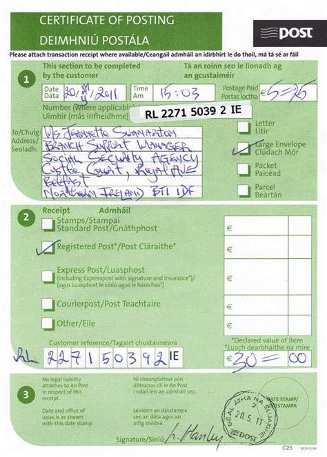 registered letter dated     jeannette swenarton