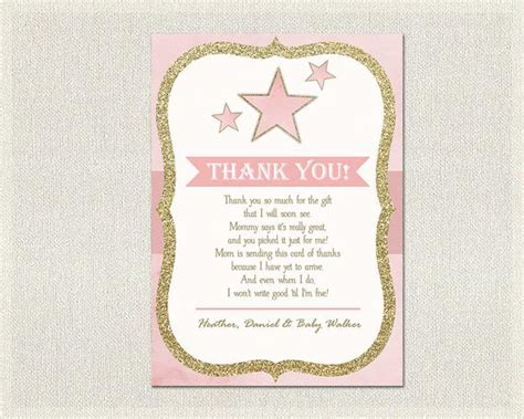 How To Write Thank You Cards For Baby Shower by Baby Shower Thank You Card Pink Gold Thank You