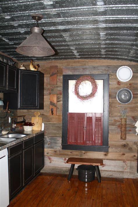 barn tin walls  barn board walls  metal ceiling