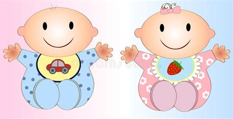 Twin Baby Boy And Girl.vector Illustration Two Royalty