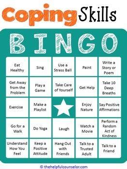 coping skills bingo game   helpful counselor tpt