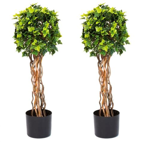 Pure Garden 30 in. English Ivy Single Ball Topiary Tree (2