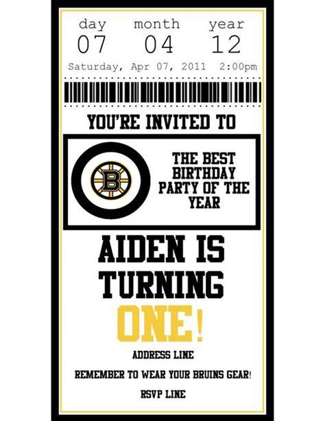 ticket template gameday boston bruins hockey ticket birthday invite boston