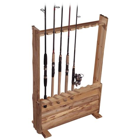 fishing pole storage rack creek log 8 rod rack with storage 143358