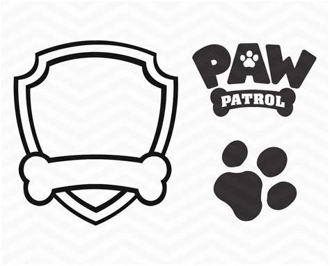 paw patrol badge template paw patrol clipart black and white clipartxtras