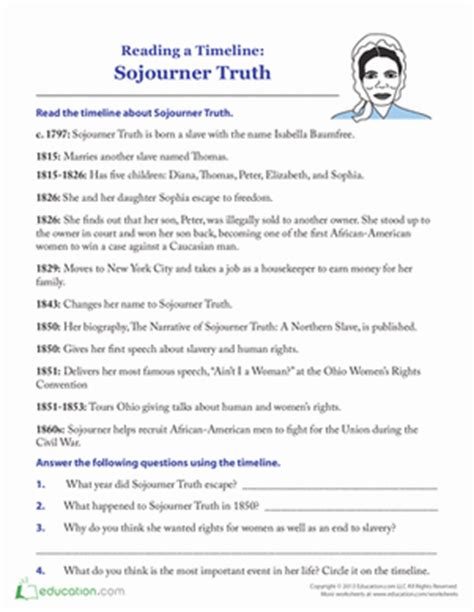 Sojourner Truth Timeline  Worksheet Educationcom