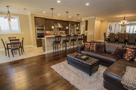 Open Concept Kitchen Great Room And Dining Transitional