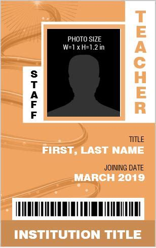 teacher photo id badge templates  ms word word