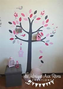 Stickers arbre nichoirs papillons et oiseaux rose poudré rose fuchsia rose fraise et dégradé