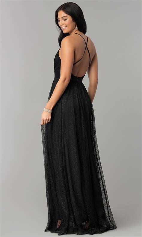 V-Neck Long Lace Open-Back Prom Dress - PromGirl