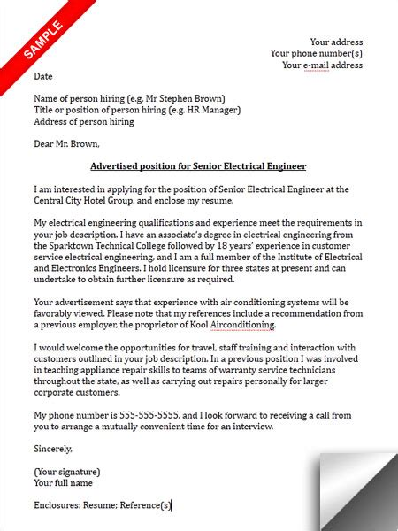 electrical engineer cover letter sample