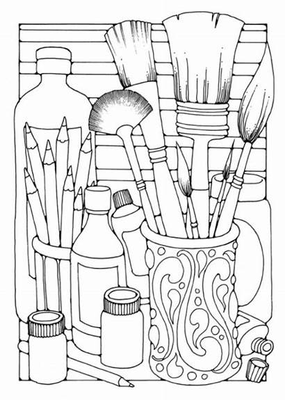 Coloring Pages Printable Adults Brushes Adult Designs