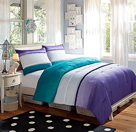 5 pc modern girls turquoise and purple bed in a bag