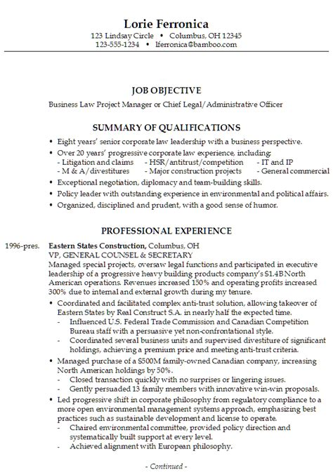 resume chief business administrative officer