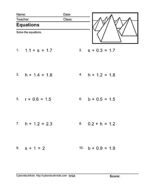 6th grade addition and subtraction equations worksheets