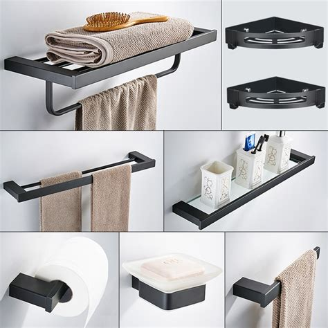 Modern Bath Hardware Set by Black Square Bathroom Hardware Set Wall Mounted Stainless