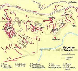 Mycenae - Acropolis Map - Tourist Attractions | History ...