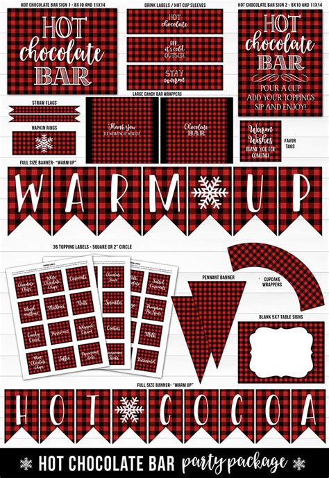 printable plaid hot chocolate bar lumberjack party