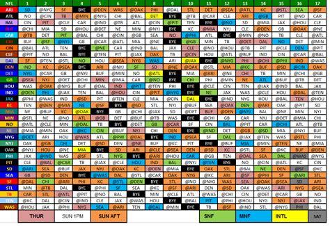printable nfl schedule  nfl schedule