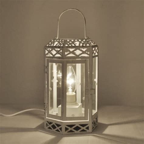 shabby chic lanterns vintage style cream distressed metal glass shabby chic lantern table l shabbychic london