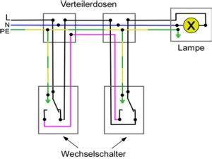 haus elektroinstallation selber machen schaltplan f 252 r wechselschaltung und wechselschalter elektrik elektroinstallation haus