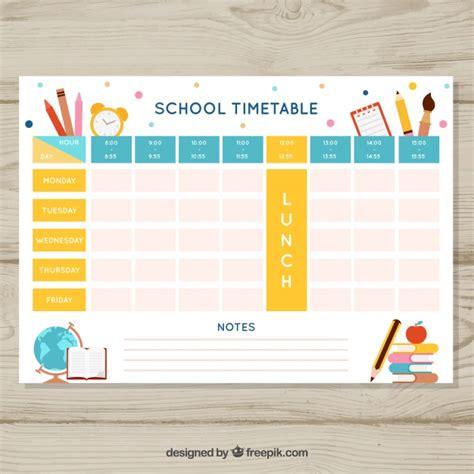 plantilla hermosa de calendario escolar vector gratis