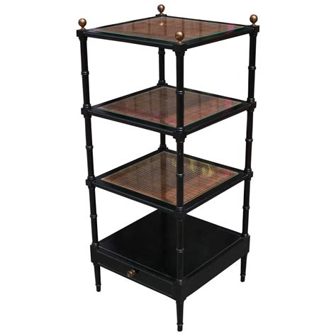 Bamboo Etagere Furniture by Charming Black Lacquer And Rattan Faux Bamboo Etagere For