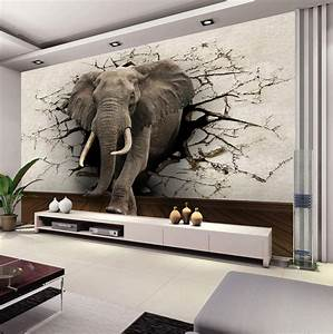 Custom 3D Elephant Wall Mural Personalized Silk Photo ...