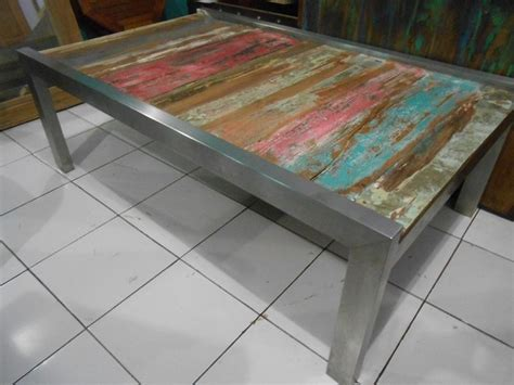 beach wood coffee table coffee tables boat wood furniture mix stainless steel