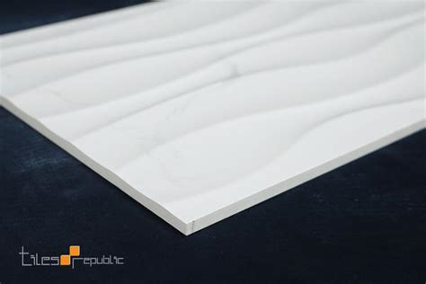 carrara marble wave white gloss  tiles republic