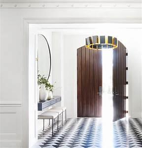 Alison, Rose, Designed, Entryway, Custom, Black, And, White, Tile